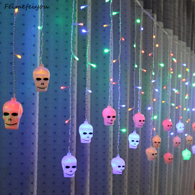 LYFS 3.5M 96 LED Halloween Curtain Light Strings Skull Style Holiday Lighting Bedroom Living Room Halloween Atmosphere Decor