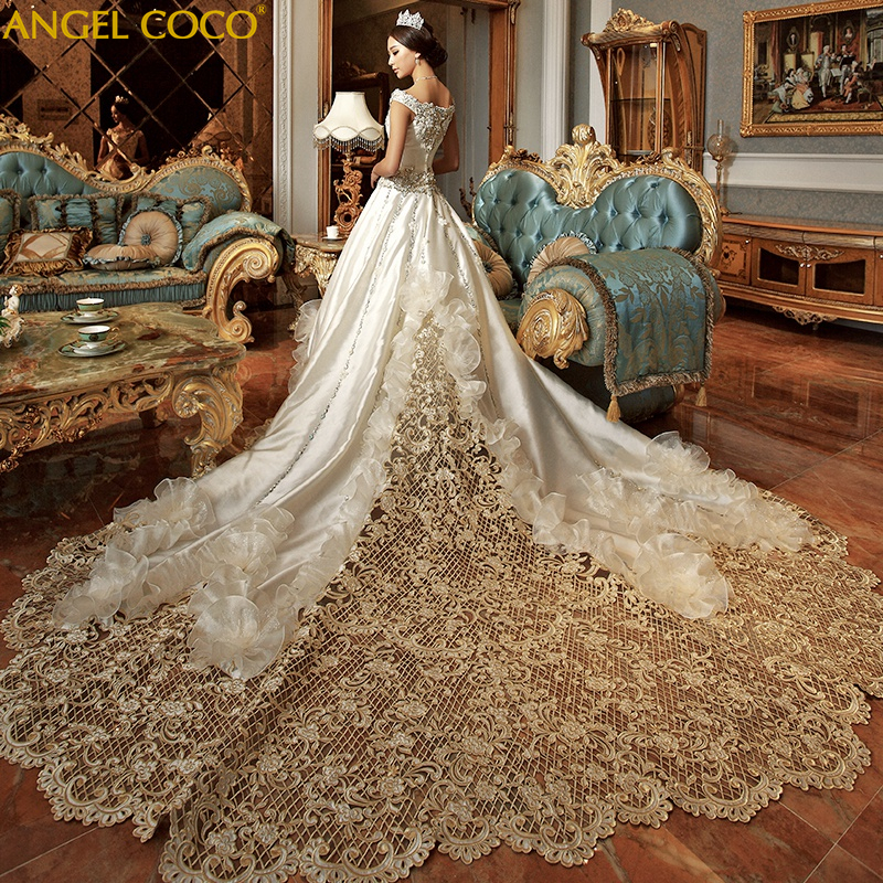 High-End Custom Royal Classic Court Wedding Dress Champagne Imported Satin Hollow Embroidery Muslim Wedding Gown Robe De Mariee