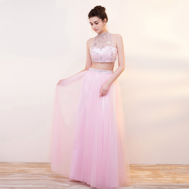 Robe De Soiree Pink Tulle Two Piece Evening Gowns High Neck Sleeveless A Line  Women Prom Evening Dress Beaded Sexy Party Dresses b63e763ebc92