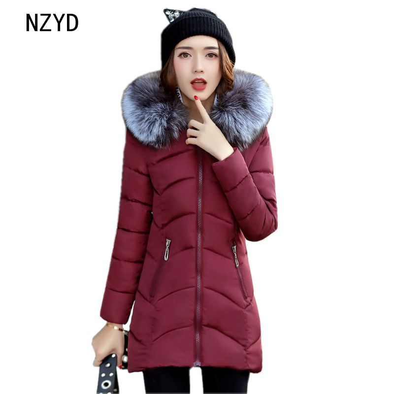 Winter Women Jacket Down 2017 New Fashion Hoooded Fur collar Warm Long sleeve Cotton Coat Casual Slim Big yards Parkas LADIES312 women winter jacket new fashion hooded fur collar coat long sleeve thick warm cotton down jacket slim big yards women coat g2722
