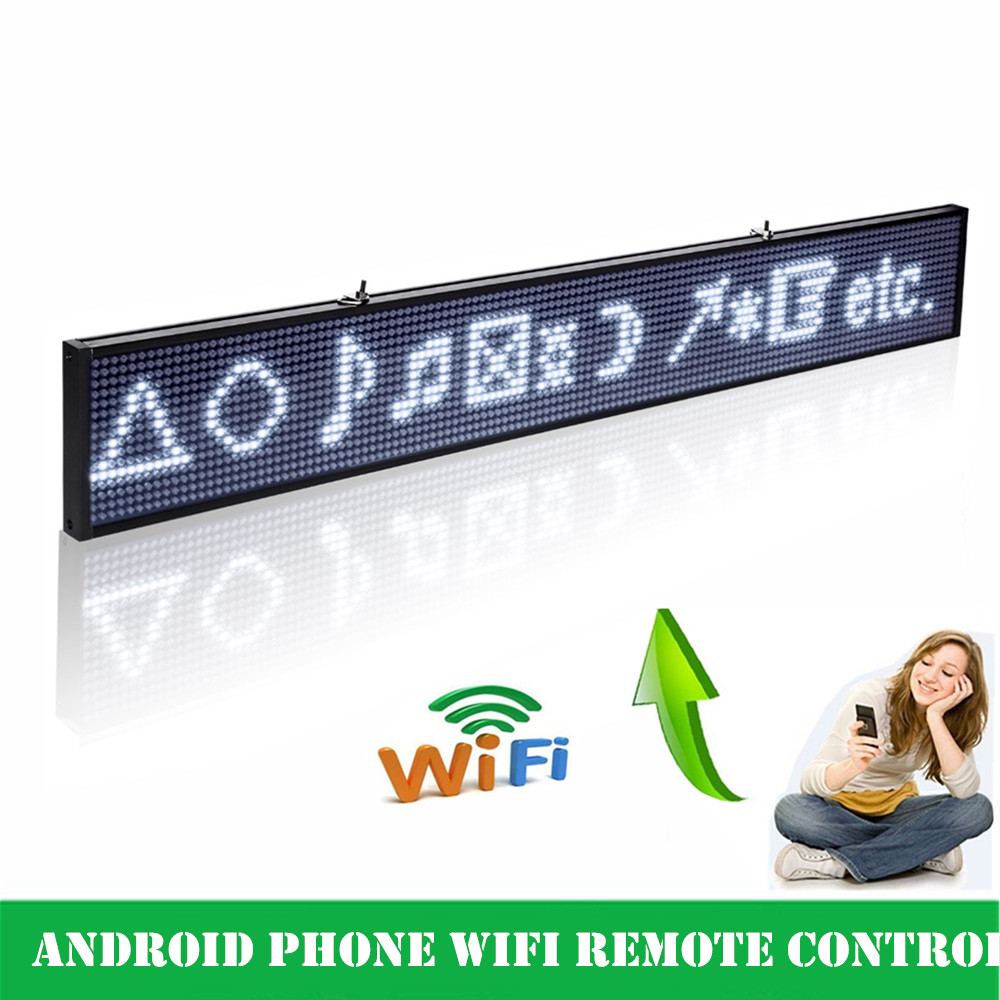 White Led sign 50cm Android WIFI wireless Remote Control Programmable Scrolling Message LED Advertising Display Board