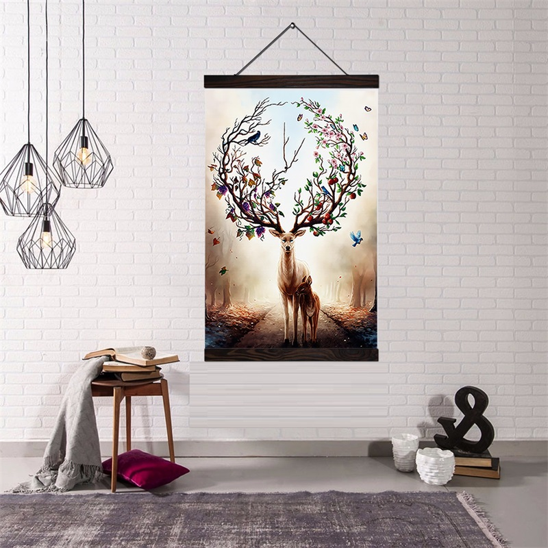 Custom Print Canvas Art Hanging Wall Art Poster Modern Solid Wood Cotton String Hanging Shaft Scroll Painting Drop shipping