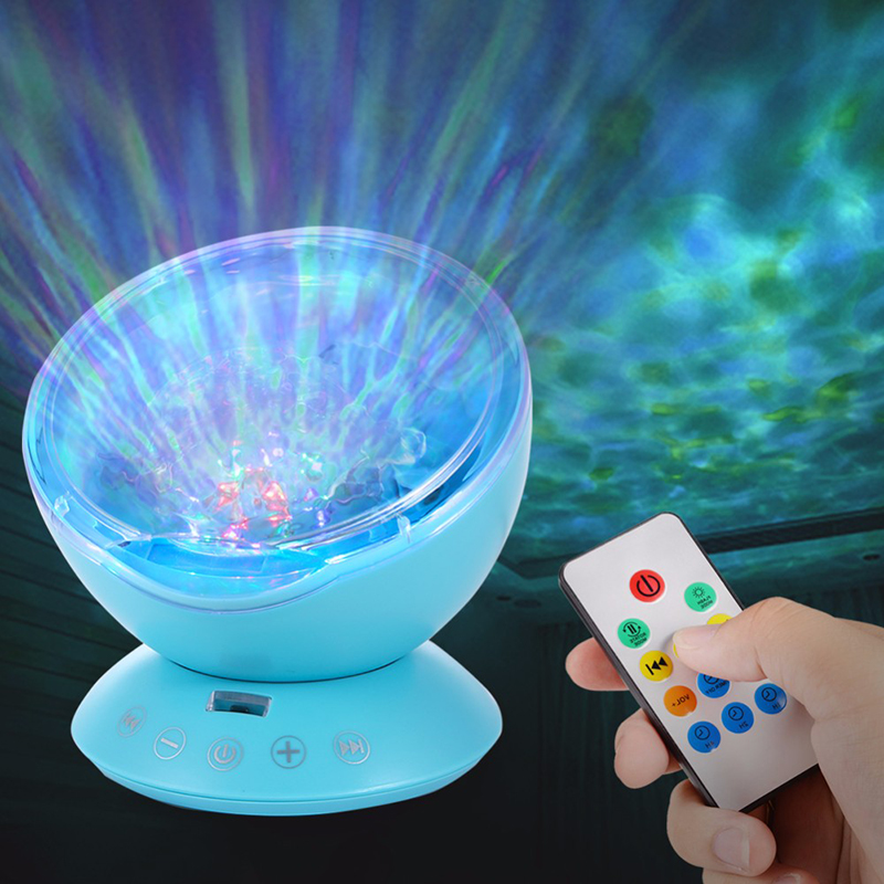 New Remote Control Ocean Wave Projector 12 LED 7 Colors Night Light - Night Lights - Photo 3