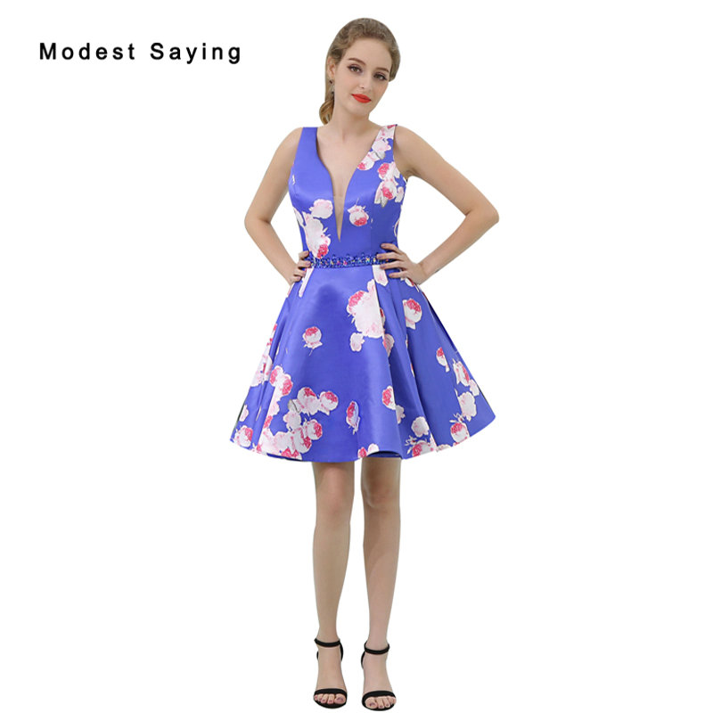 Sexy Blue A Line Beaded Floral Print Short Cocktail Dresses 2017