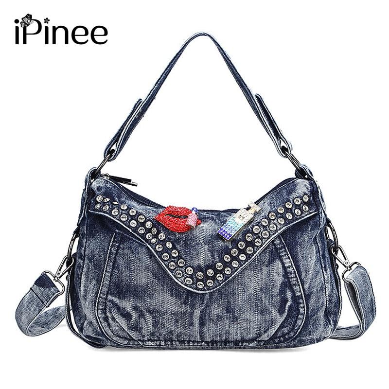iPinee Genti de moda pentru femei Brand celebru pentru femei Denim Handbag Albastru Crossbody Bag pentru femei Casual Motocicleta Bag