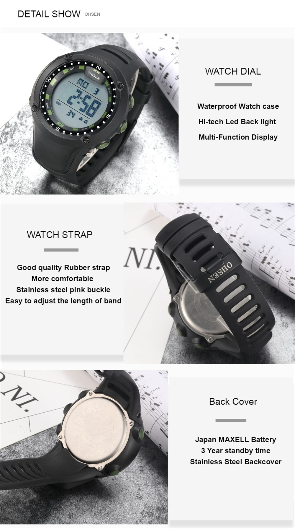 OHSEN Top LED Digital Men\`s Watch Kids Watches Women Sport Clock Child Sports Wrist Watch Electronic for Girl Boy Surprise Gift (31)