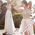 Romântico Do Laço Do Marfim Vestido de Noiva Frisada Sexy Backless Alta Baixa Praia Vestido de Noiva Chiffon Do Vintage 2017 Robe de Mariage