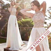 romantic ivory lace  beaded sexy backless high low beach vintage wedding dress chiffon 2017