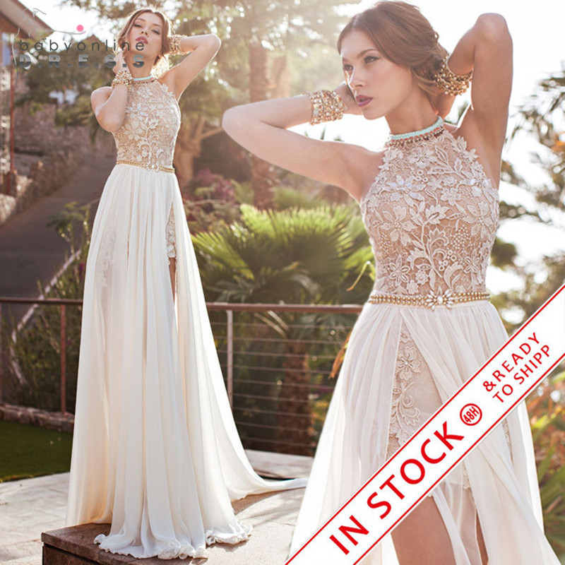 Romantic ivory lace vestido de noiva beaded sexy backless for Vintage backless wedding dresses