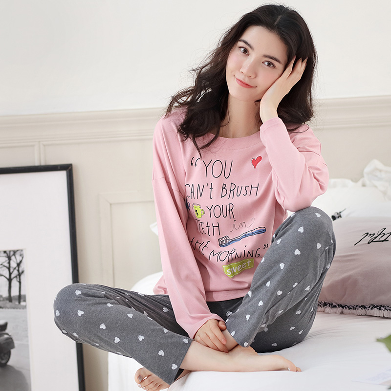 Alphabet Top and dot pants women cotton pajamas set Chinese style pyjamas  suit 2 Pcs Sleepwear ladies Nightwear M L XL XXL-in Pajama Sets from  Underwear ... 38d5b01f2