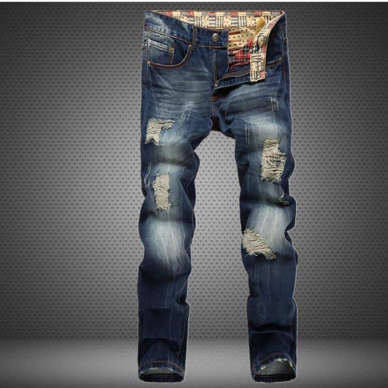 ФОТО Men Jeans Ripped Biker Hole Denim robin patch Harem Straight punk rock embroidery jeans for men Pants