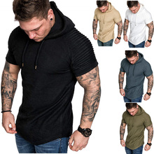 Mens Round Neck Slim Solid Color Hooded Short Sleeve T-Shirt Striped Pleated Raglan