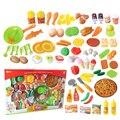 58 Pcs Corte De Plástico de Frutas Legumes Cozinha Cozinhar Brinquedo Desenvolvimento Precoce e Educação para Crianças Brinquedo Melhor Presente de Natal