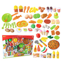 58Pcs Plastic Fruit Vegetable Kitchen Cutting Cooking Toy Early Development and Education Toy for Children Best Christmas Gift
