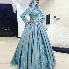Arabic Muslim Evening Dress with Hijab Modest Long Sleeve Evening Gown Caftan abiye elbise vestido de festa abendkleider Cheap