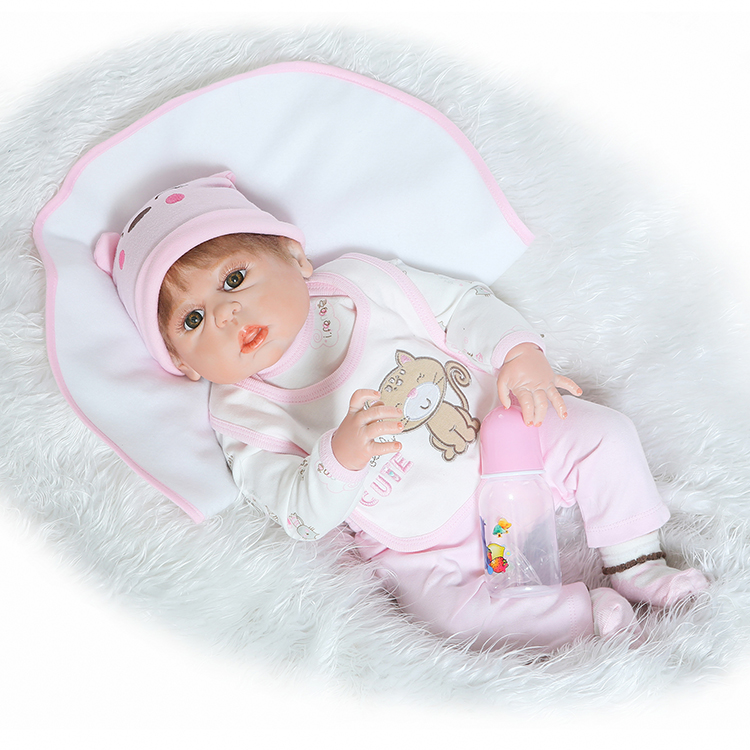 New Face 55cm Full Silicone Reborn Babies Girl Doll Lifelike Princess Newborn Baby Doll Kids Birthday Present Gift Bathe Toy 50cm silicone reborn baby dolls lifelike vinyl newborn babies doll toy for girl bathe toy birthday gift present