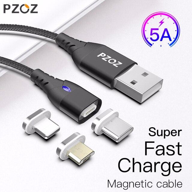 PZOZ 5A Магнитный кабель usb type c Micro usb Тип C супер быстрая зарядка телефона Microusb Тип-C магнит Зарядное устройство usb c для iphone huawei xiaomi магнитная зарядка для айфона шнур для зарядки телефона