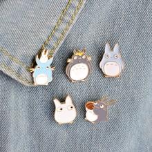5pcs/set Childhood Cartoon My Neighbor Lovely Totoro Chinchilla Brooch Button Pins Denim Jacket Pin Badge Animal Jewelry Gift