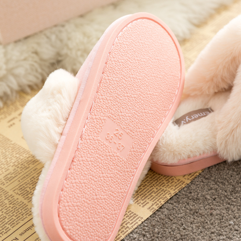Lizeruee New Faux Suede Shoes Lovers Winter Cotton Slippers Home Fur Plush Warm Slippers For Women Indoor TPR Slippers Fashion