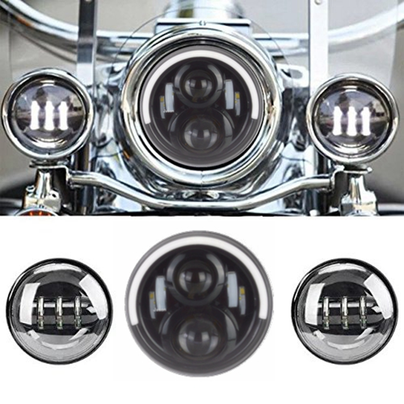 7 LED Projector Daymaker Headlight + 2x 4-1/2 Black/Chrome LED Auxiliary Spot Fog Passing Light Lamp For Harley Motorcycle led motorcycle fog lights chrome for harley 12v 4 5 inch fog lamp 4 1 2 30w passing drl waterproof motorbike black for harley