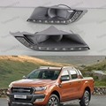 1Pair Yellow Daytime Running Lights Turn Signal Light Fog Lights For Ford Ranger 2015-2016