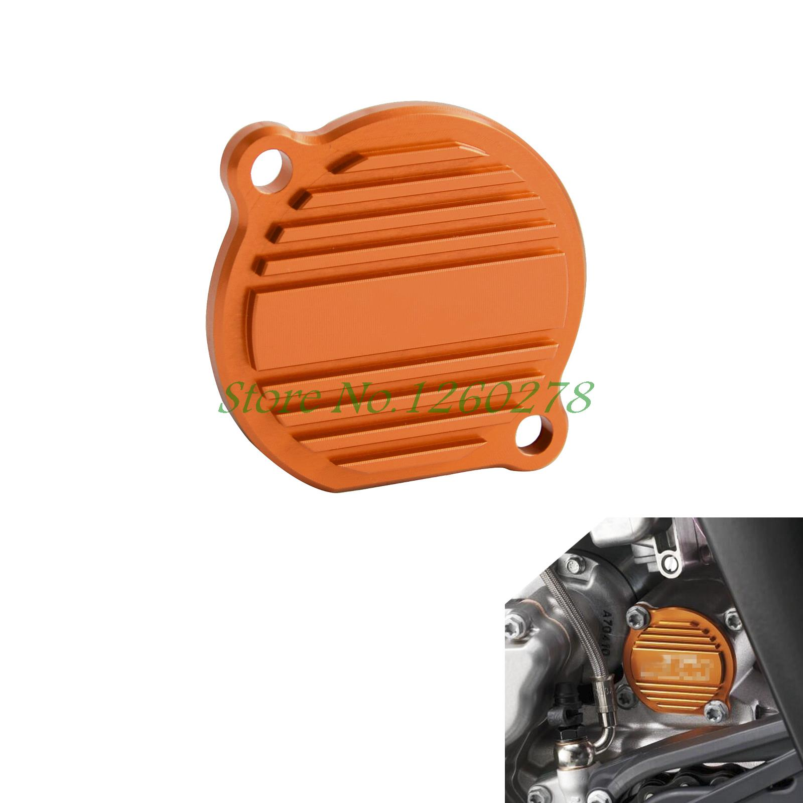 Orange CNC Billet Factory Oil Filter Cover For KTM SX EXC XC-F/XCF-W 250 400 450 520 525 540 950 990 orange cnc billet factory oil filter cover for ktm sx exc xc f xcf w 250 400 450 520 525 540 950 990
