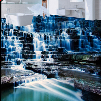 beibehang photo floor painting to paste high-definition landscape waterfall water 3D tiles three-dimensional wallpap