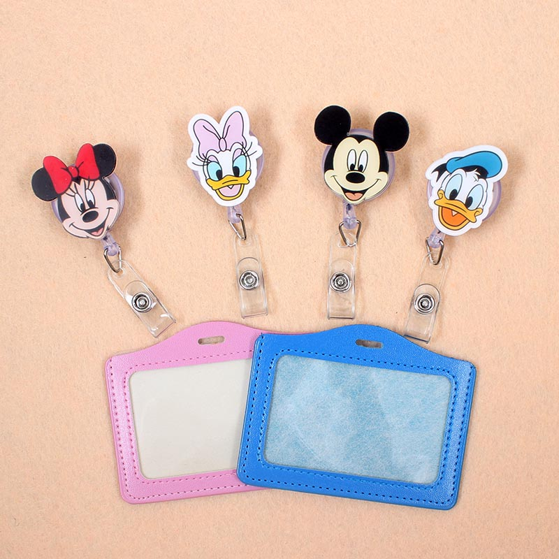 Acrylic Cute Mickey Badge Scroll Nurse Office Reel Character Scalable Student Nurse Exhibition PU Business Card Badge Holder