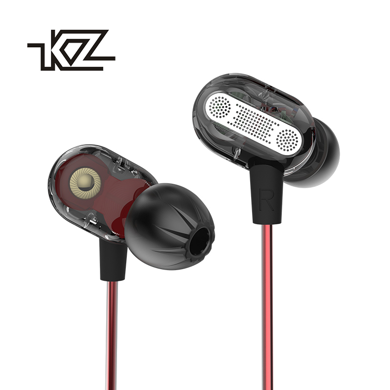 2017 new original KZ ZSE Double moving circle Dual drive headset In-ear wire control With microphone fever level HIFI earphone original senfer dt2 ie800 dynamic with 2ba hybrid drive in ear earphone ceramic hifi earphone earbuds with mmcx interface