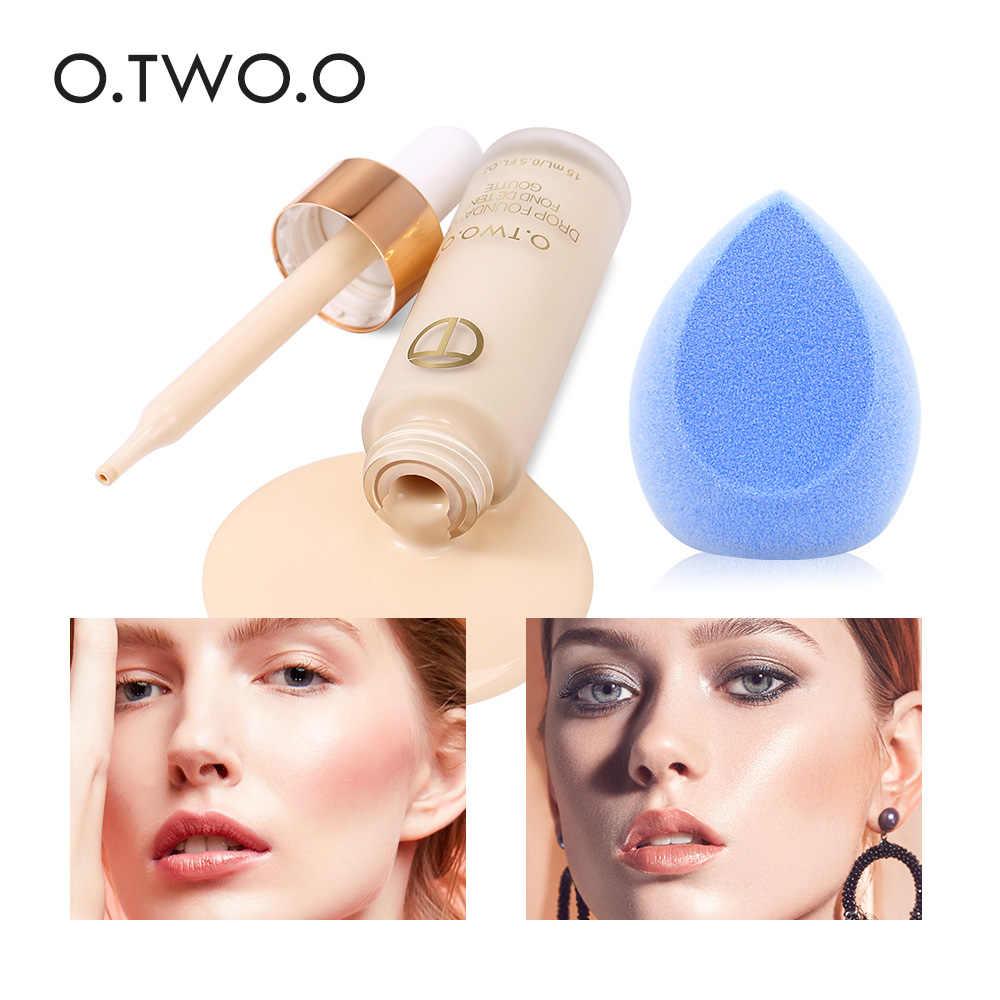 O. DOIS. O Matte Foundation Líquido Maquiagem Cartilha Base de Creme para O Rosto de Cobertura Corretivo Com Esponja de Maquiagem Liquidificador Maquiagem Conjunto Completo