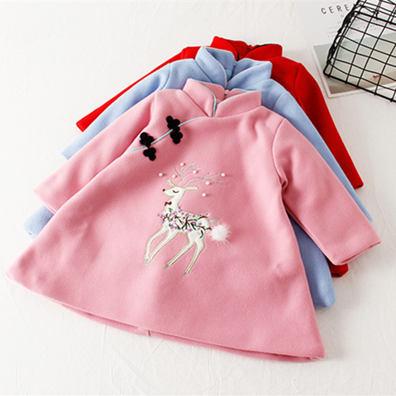 DFXD Toddler Dress High Quality Chinese Style Cheongsam Embroidery Pearls Wool Thick Velvet Autumn Winter Girl Dress 2-7Years a three dimensional embroidery of flowers trees and fruits chinese embroidery handmade art design book