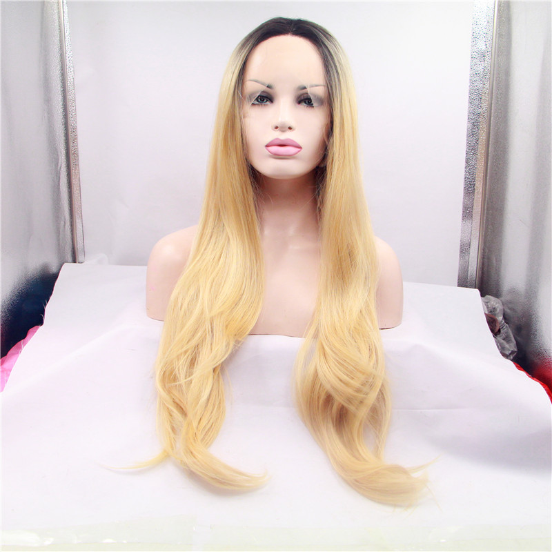 Kylie Jenner silk blonde straight hair wig glueless lace front ombre wig  blonde black synthetic lace front wig heat resistant on Aliexpress.com  0d99b746d