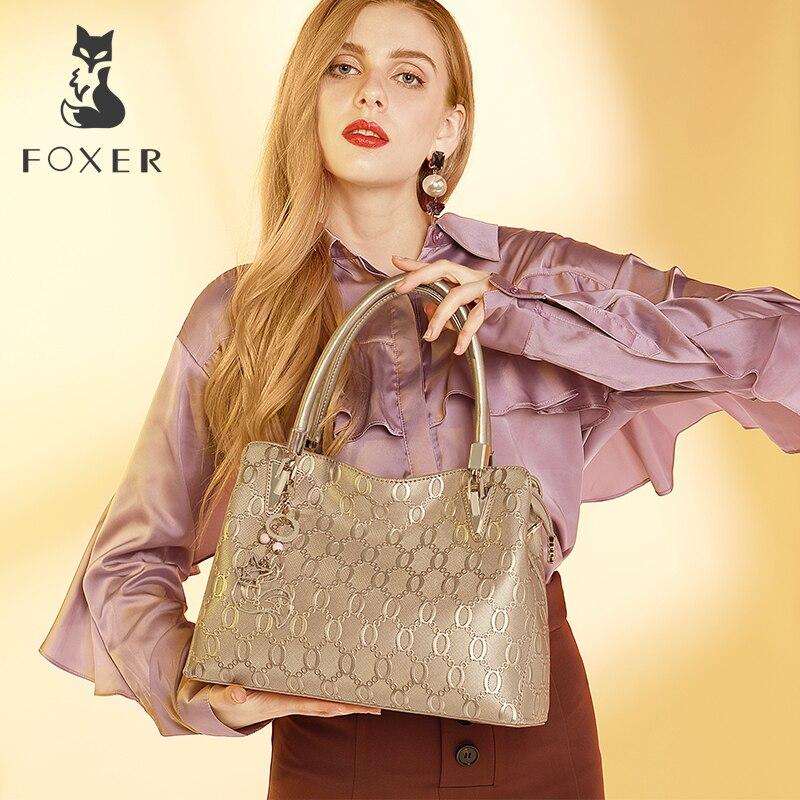 FOXER kobiet podział skóra bydlęca na ramię torba Crossbody torby, żeński, moda skrzynki torebki cały mecz z górnym uchwytem torba torebka 962061F w Torebki na ramię od Bagaże i torby na  Grupa 2