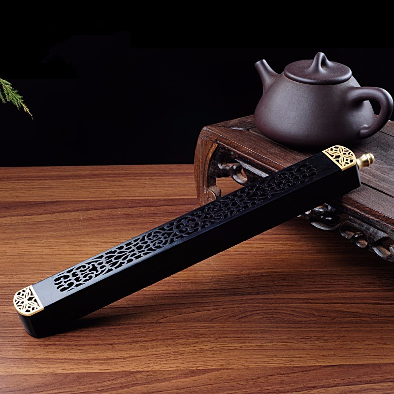 PINNY Ebony Wooden Incense Box Pure Copper Incense Joss Sticks Incense Burner Grilles Cut Religious Buddhist Supplies