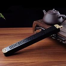 Ebony wooden incense box pure copper Joss sticks burner grilles cut religious Buddhist supplies free shipping
