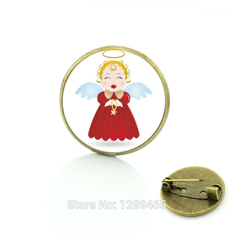 2017 Promotion Hot Sale Pin Merry Christmas Kissing Baby Angle Brooches Jewelry For And Gift For Glass Cabochon Dome Medal C23