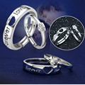 1 Set Forever Love Couple Ring S925 Sterling Silver Adjustable Lovers Ring Wedding Engagement Jewelry Makeup Tool Kit Gift Bague