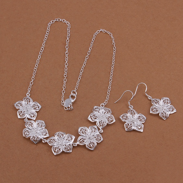Silver plated noble elegant refined luxury popular ornate fashion classic flowers two piece sets hot selling silver jewelry S451