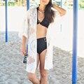 Sexy Bikini Pareos Playa Túnica Crochet Beach Cover Up trajes de Baño traje de Más Tamaño Mujeres del traje de Baño Cover-Ups Túnica Blanca De Plage pareo