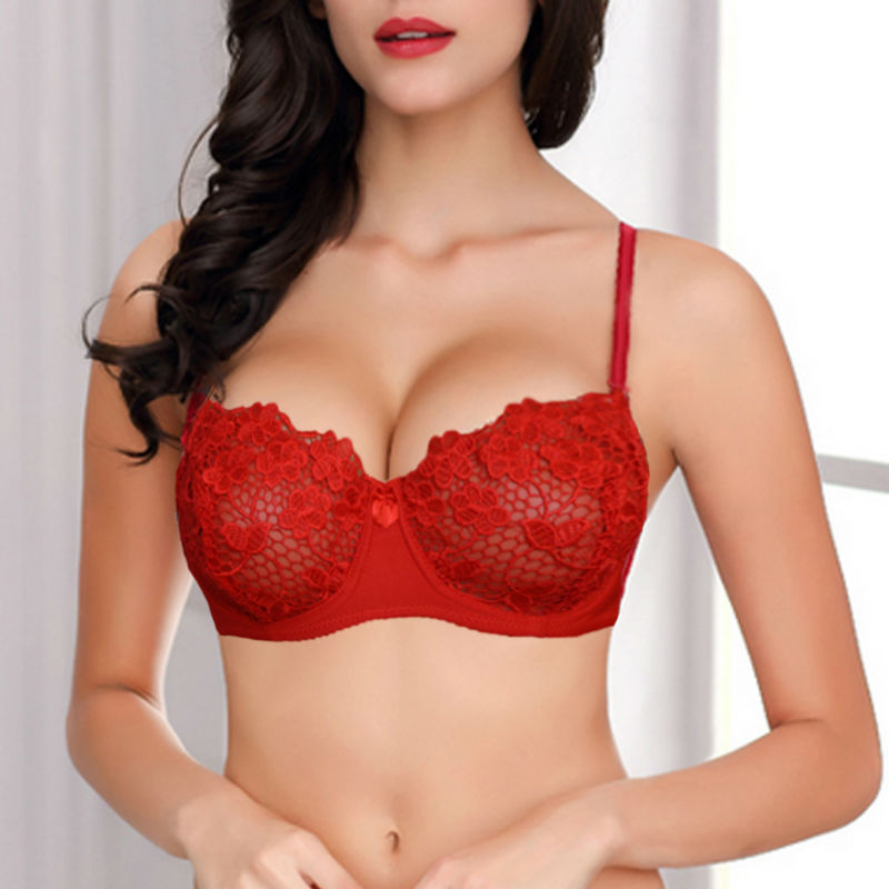 cb8ddc0afd80e Ladies Women Sexy Underwear 1 2 Cup Mesh Lined Lace Sheer Bra Lingerie  Underwire Bralette Flroal Embroidery Size 34-44 A B C D