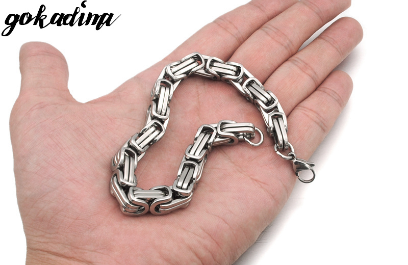 Gokadima New Product, Silver Color Stainless Steel bracelets Link Byzantine Chain Bracelet For MENS Jewelry Fashion Good quality 7