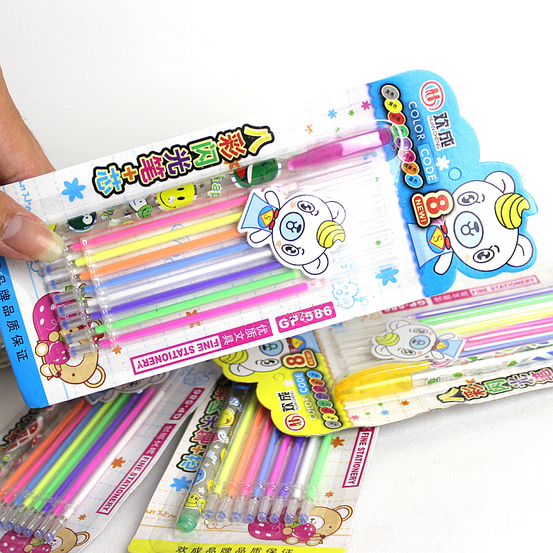 1 Pen With 8 Refill/set New Cute Colorful Gel Pen Set School Supplies Watercolor Pens School Office Stationery 1 set guitarfamily 6 in line kluson vintage guitar machine heads tuners nickel made in korea