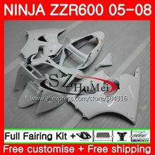 Кузов для Kawasaki NINJA ZZR-600 ZX 600CC ZX600CC 14SH12 ZZR 600 05 06 07 08 ZZR600 2005 2006 2007 глянцевый белый 2008 Обтекатели