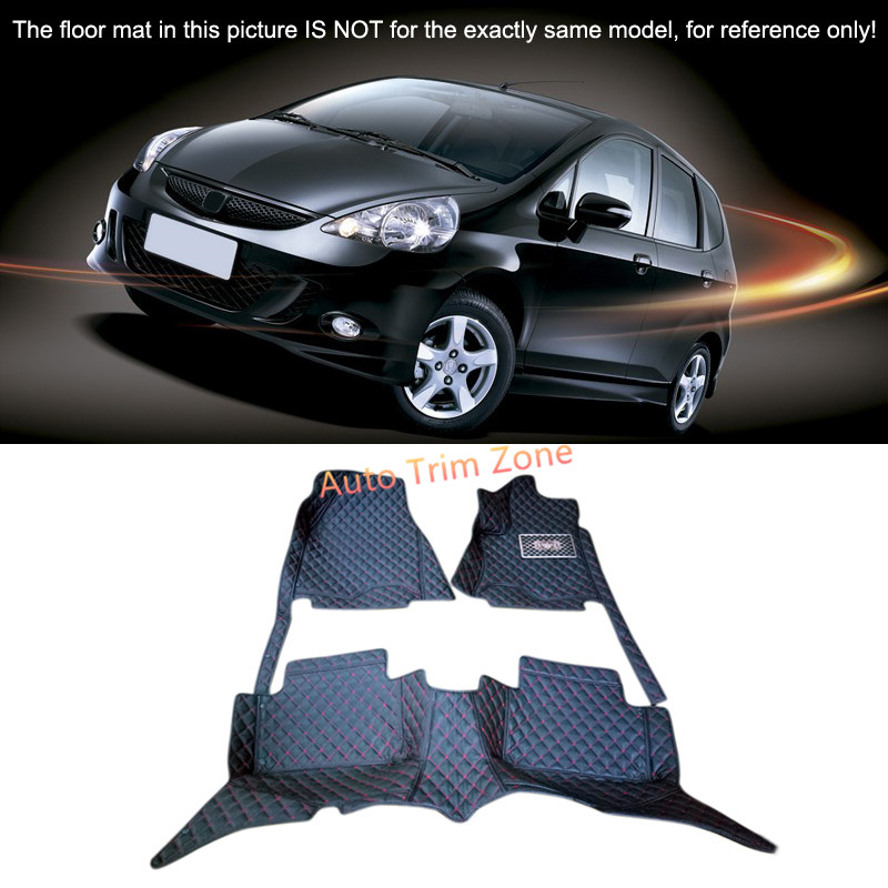 Black Interior Leather Floor Mats & Carpets Foot Pads Protector For Honda Fit Jazz 2004-2008