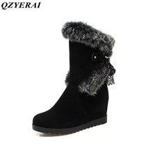 QZYERAI Newly arrived winter female warm inner height plush neckline ladies snow boots anti-slip soles waterproo felt shoes