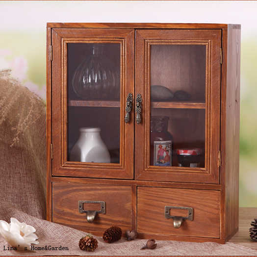 Cute Beautiful Handmade Tabletop Standing Vintage Wood Mini Cabinet with Doors Drawers