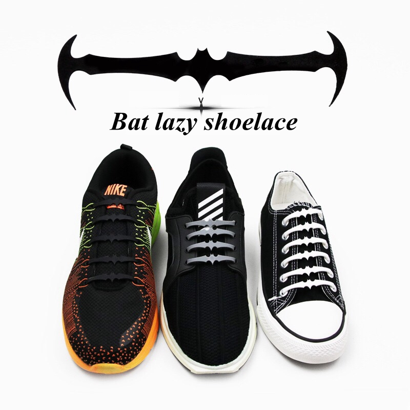 цена 16pc/set Elastic Silicone Shoelaces Bat Shape Special Shoelace No Tie Shoe Laces For Men Women Lacing Shoes Lazy laces L7