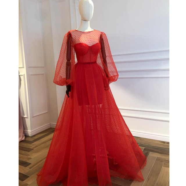 Custom Made Red Illusion Long Sleeve Evening Dress 2019 Custom Made Puffy Tulle See Through Special Occasion Dresses Cheap