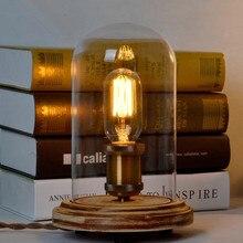 Envío Gratis, Lámpara decorativa de escritorio de oficina, lámpara de dormitorio E27 Edison Vintage, lámpara de mesa de madera, navidad
