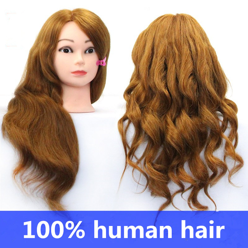 100% Natural  Hair  Hairdressing Training Head Mannequin Golden 20'' Mannequin Head Can Be Curly With Makeup
